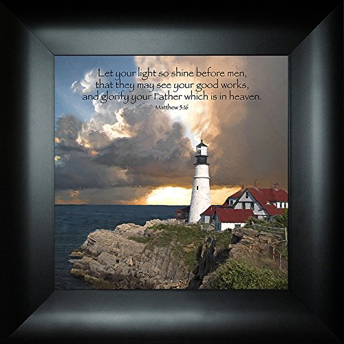 Good Works By Todd Thunstedt 18x18 Matthew 5:16 Portland Head Lighthouse Sunrise Light Risen Sunset Water Church Religious Bible Verse Quote Saying Jesus Christ Framed Art Print Wall Décor Picture