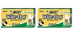 BIC Wite-Out Extra Coverage Correction Fluid BICWOFEC324, 2 Packs