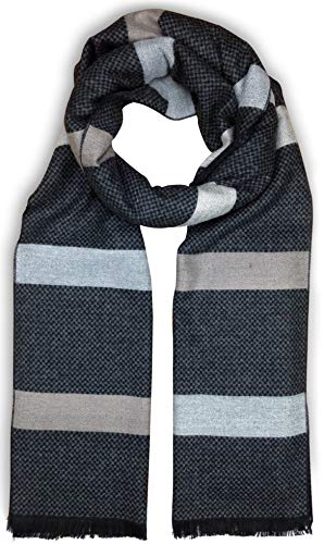 Bleu Nero Luxurious Winter Scarf for Men and Women - Large Selection of Unique Design Scarves - Super Soft Premium Cashmere Feel Black Grey Checked Taupe-Grey Stripes ()