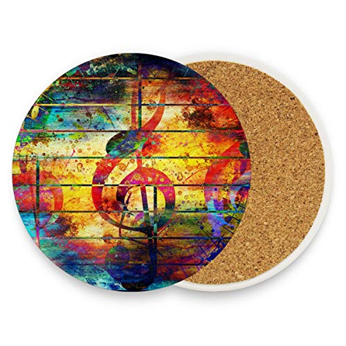 Abstract Colorful Music Notes Violin Clef Round Absorbent Ceramic Stone Drinks Coasters Coffee Cup Mat Sets for Home Office Bar Kitchen (Set of 2)]()