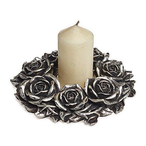 - Alchemy Dining Entertaining Tabletop Pillar Candle Holder Elegant Victorian Romance Wreath Silver Roses