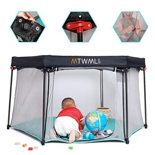 6-Panel Portable Playpen, Play Yard, Safety Foldable Indoor and Outdoor Baby Play Pen with Carry Case and Washable Lightweight Mesh Kids Playard