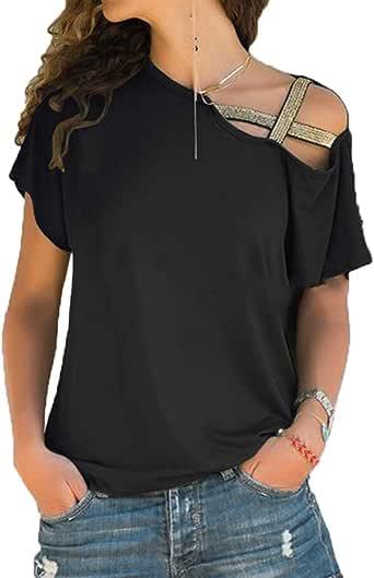 Primavera Verano Mujer Casual Cruz Irregular Hombro Manga Corta Camiseta Mujer: Amazon.es: Ropa y accesorios