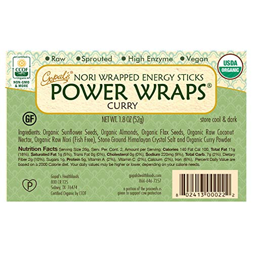 Gopal's Curry Power Wraps, Vegan and Gluten-Free Organic Food, Raw and USDA Certified Nori-Wrapped Energy Sticks 1.8 Ounces (Pack of 24) by Gopal's (Image #2)