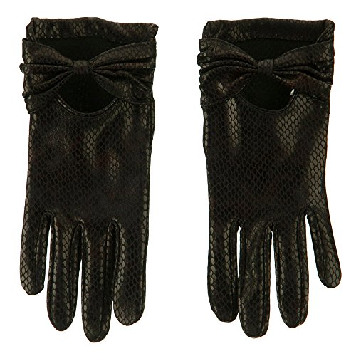 Snake Bow Accent Glove - Black OSFM (Bow Accent Gloves)