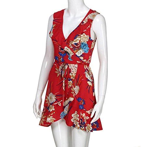 Fiesta La Playa Estilo Mangas Playa Las La Diario Mujeres Mujer De Vestido De Sin Vestido De Vestidos Mini Moda del Mangas Sin Rojo Playa La De BzEHqnw6