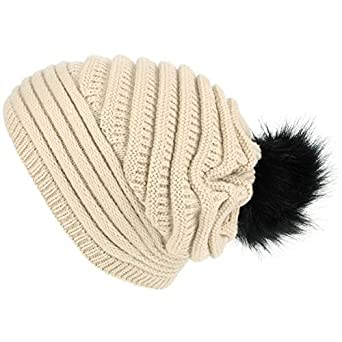 e864248864f Macahel Chunky Ribbed Slouch Beanie Hat with Faux Fur Bobble - Beige   Amazon.co.uk  Clothing
