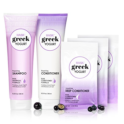 HASK Shampoo and Conditioner Greek Yogurt repairing, color safe, gluten free, sulfate free, paraben free - Blueberry and Acai 1 Shampoo, 1 Conditioner and 3 Deep Conditioning Treatment Kit