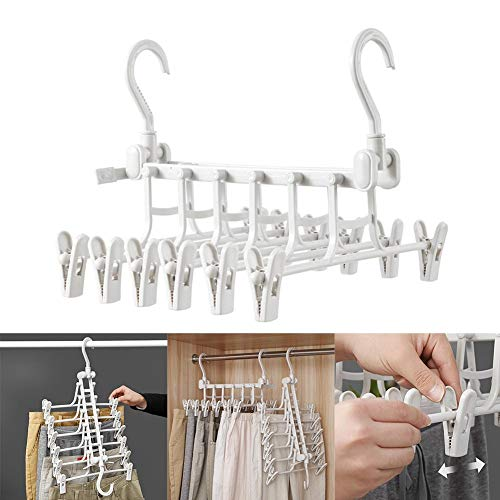 combnine Pants Hangers Double Hook Trousers Rack Adjustable Rotating Folding Multi-Layer Closet Hangers Magic Space Saver Storage Rack for Clothes Towel Scarf