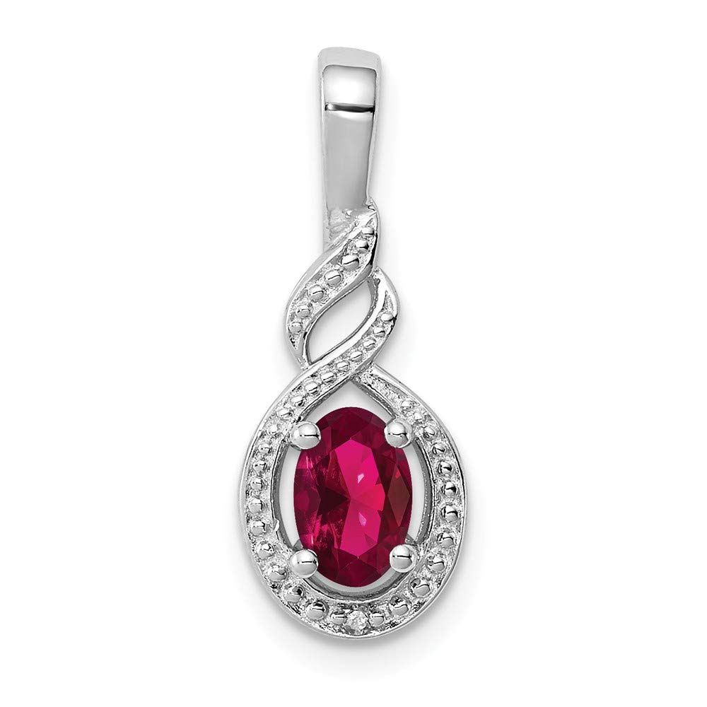 925 Sterling Silver Created Red Ruby Diamond Pendant Charm Necklace Set Birthstone July Fine Jewelry Gifts For Women For Her