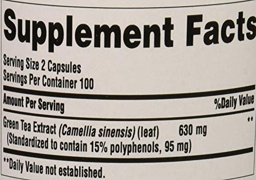 Puritans Pride Green Tea Standardized Extract 315 Mg Capsules, 200 Count 5