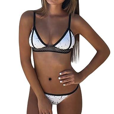 34bf66e27270a Women Bikini Lace Mesh Patchwork Camisole Swimwear China Style Beachwear  Set Bathing Suits by FAPIZI White