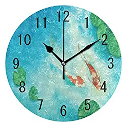 ALAZA Home Decor Watercolor Oil Painting Koi Carp Fish Lotus Leaves Round Acrylic 9 Inch Wall Clock Non Ticking Silent Clock Art for Living Room Kitchen Bedroom