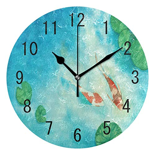 ALAZA Home Decor Watercolor Oil Painting Koi Carp Fish Lotus Leaves Round Acrylic Wall Clock Non Ticking Silent Clock Art for Living Room Kitchen Bedroom