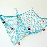Bilipala Rustic Decorative Fishing Net Wall Decor with Seashells, Nautical Style Wall Hangings Ornaments, Blue