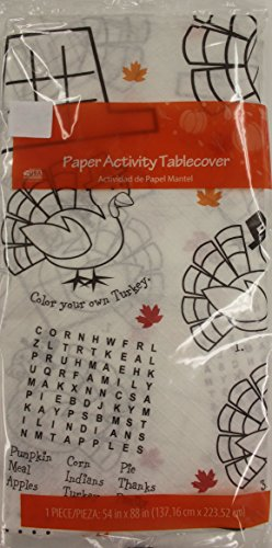 Thanksgiving Table Cloth Paper Childrens Activity Tablecover by Turkey Gobble