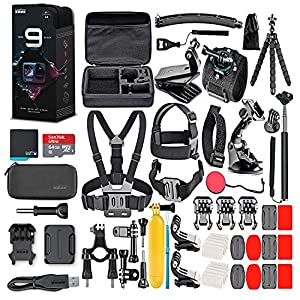 GoPro HERO9 Black – Waterproof Action Camera with Front LCD and Touch Rear Screens, 5K HD Video, 20MP Photos, 1080p Live Streaming, Stabilization + 64GB Card and 50 Piece Accessory Kit – Loaded Bundle
