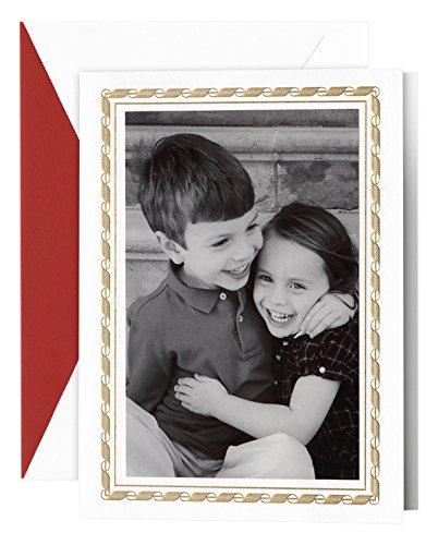 Crane Engraved Modern Ribbon Photo Mount Holiday Card (KP90465V)