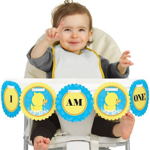 Big Dot of Happiness Ducky Duck 1st Birthday - I Am One - First Birthday High Chair (First Duck)