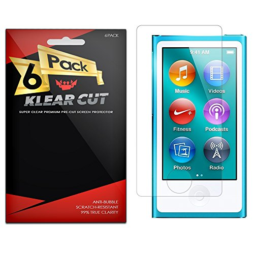 Klear Cut [6 Pack] – Screen Protector for Apple iPod nano 7 – Lifetime Replacement Warranty - Anti-Bubble & Anti-Fingerprint High Definition (HD) Clear Premium PET Cover – Retail Packaging