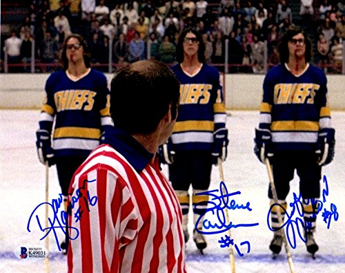 Beckett-BAS Autographed Signed The Hanson Brothers Slap Shot Movie Photo Photograph with Referee
