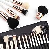 ZOREYA (TM) Pinceles de maquillaje 15 piezas de gama alta Rose Gold Kit de pinceles de maquillaje profesional con libre de calidad superior de lujo de cuero organizadores de maquillaje Bolsa de caja de almacenamiento más el pincel Kabuki