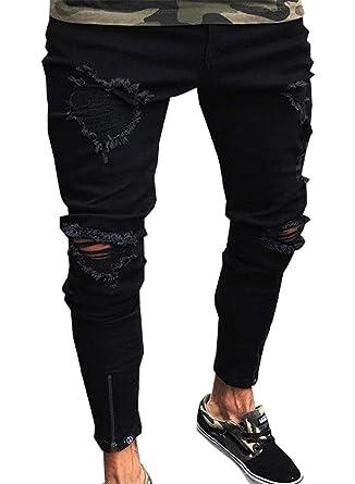 Uomo Pantaloni Jeans con Cerniera Larghi Slim Fit Biker Moto
