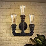Industrial Rustic 3 Lights Wall Sconce-LITFAD Steampunk Pipe Vintage Edison Wall Light Metal Wall Mounted Lighting Fixture Black Finish