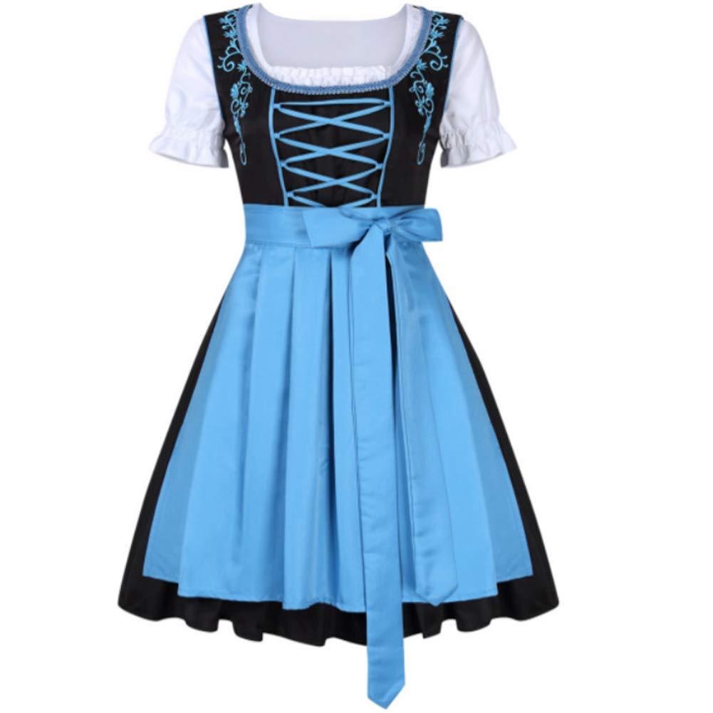 wer3fnmh 3pcs/set Female Bavarian Traditional Dirndl Dress Elegant Dress for Beer Festival green L