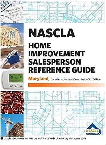 Maryland Nascla Home Improvement Salesperson Reference Guide 5th Edition Nascla 9781934234952 Amazon Com Books