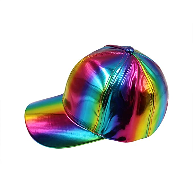 f7f4d2be9dae79 Unisex Shiny Holographic Baseball Hat Baseball Cap Adjustable Sun Hat for  Outdoor Activities at Amazon Women's Clothing store: