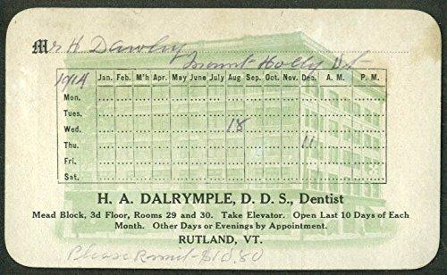 h a dalrymple dds dentist appointment ledger card 1914 rutland vt at