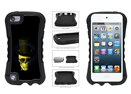 Human Skull With Hat Glasses And Cigarette 2-Piece Dual Layer Phone Case Back Cover For Apple iPod Touch 5th Generation comes with Security Tag and myPhone Designs(TM) Cleaning - Security Tag Sunglasses