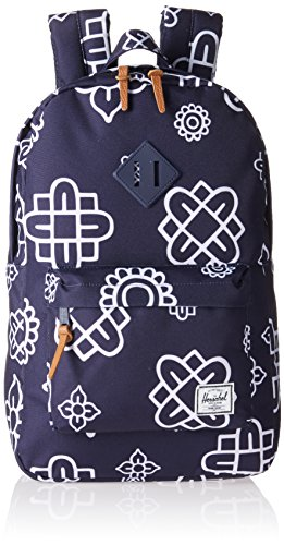 Herschel Supply Co. Heritage Mid-Volume Backpack, Peacoat Paisley Print/Peacoat Rubber