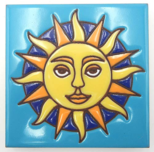 - Hand-n-Hand Designs Talavera Clay Tile Sun with Face