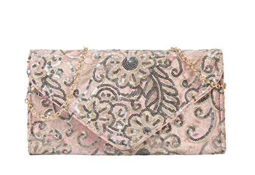 Purse Diophy Archaized Embroidered Sequins Womens Pink Clutch q7aXZq
