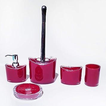 Style Heim - Bad-Accessoires-Set, 5-teilig, Kunststoff, Chromoptik, Rot
