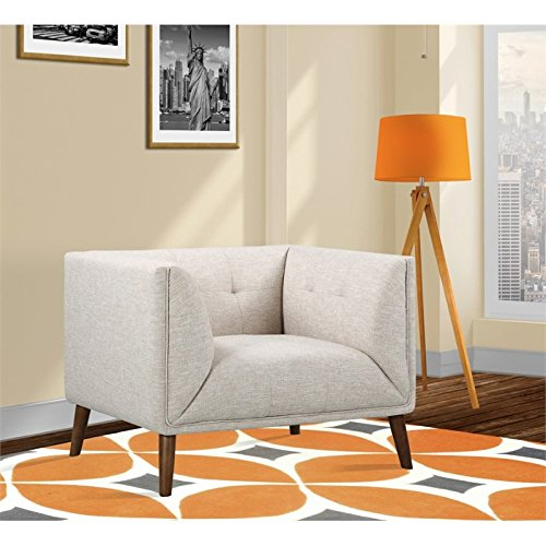 - Armen Living LCHU1BE Hudson Chair in Beige Linen Fabric and Walnut Wood Finish