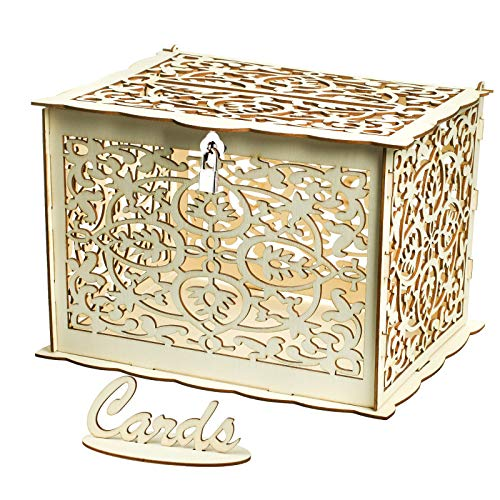(Vlovelife Wooden Wedding Card Box, Rustic Hollow Wedding Money Box with Lock & Card Sign Collection Gift Card Boxes for Vintage Weddings Receptions)