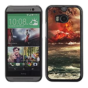 Soft Silicone Rubber Case Hard Cover Protective Accessory Compatible with HTC ONE M8 2014 - Volcano Eruption Island