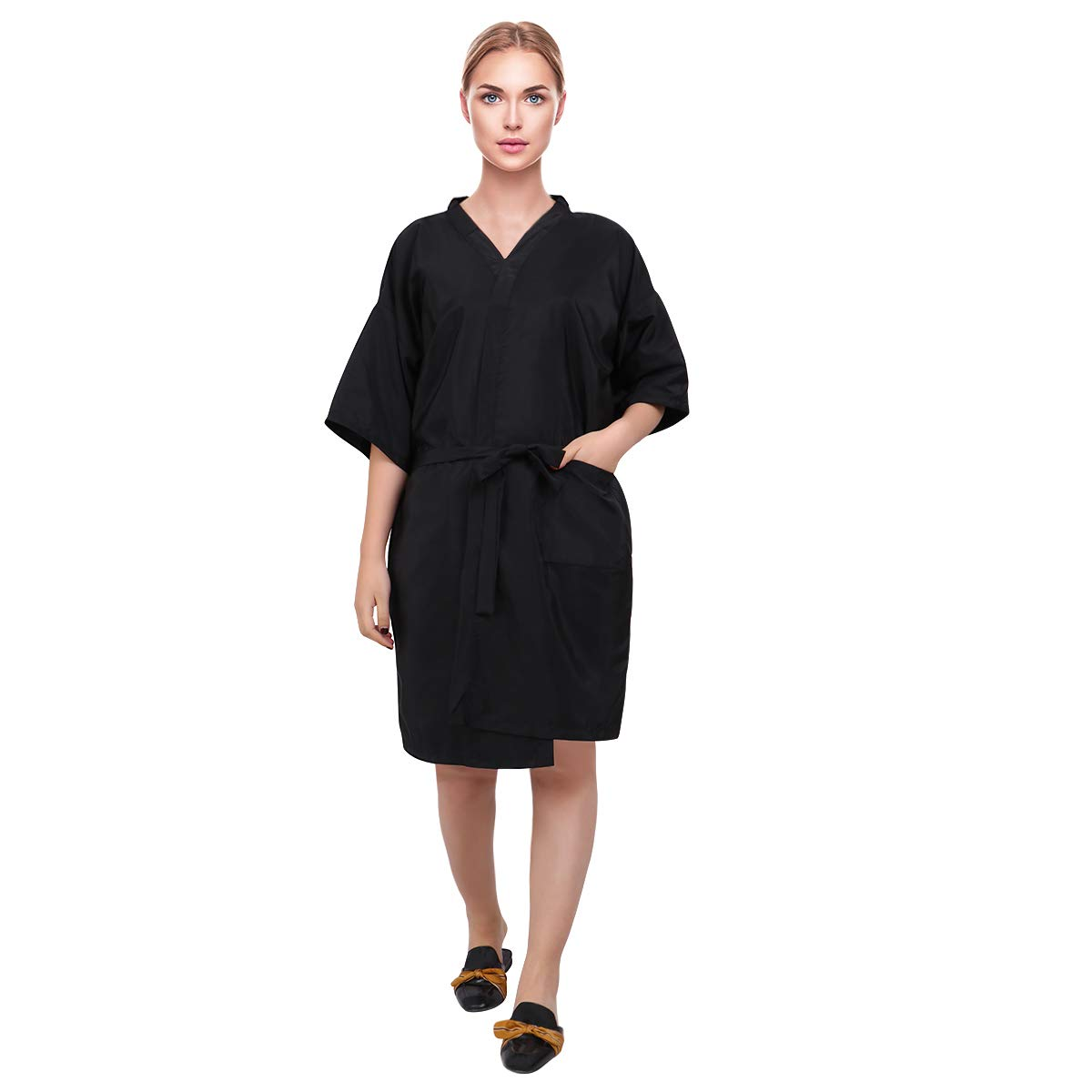 Lurrose Salon Client Gown Waterproof Hair Salon Smock Hairdressing Clothes Kimono Style Haircut Apron for SPA Hotel(Black) by Lurrose