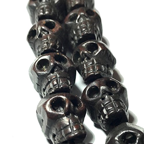 [ABCgems] Philippine Dark Ebony Hardwood 18mm (Rare Size- Exquisite Craftsmanship) Hand-Carved Skull Center-Drilled Organic Tropical Wood (Skull Center)