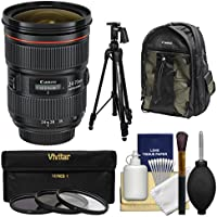 Canon EF 24-70mm f/2.8 L II USM Zoom Lens with Canon Backpack + Pistol-grip Tripod + 3 UV/CPL/ND8 Filters + Kit