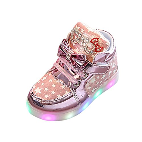 Botrong Toddler Baby Fashion Sneakers Star Luminous Child Casual Colorful Light Shoes (4.5 Years Old, Pink)