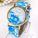 Estone Hot Fashion Women Dress Watch silicone printed Flower causal Quartz Wristwatches