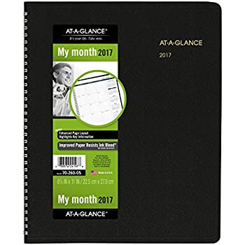 """AT-A-GLANCE Monthly Planner / Appointment Book 2017, 15 Months, 8-7/8 x 11"""", Black (70-260-05)"""