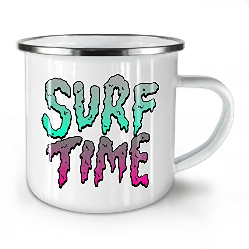 Surf Time Enamel Mug, Sport Slogan Cup - Strong, Easy-Grip Handle, Two Side Print, Ideal for Camping & Outdoors By Wellcoda