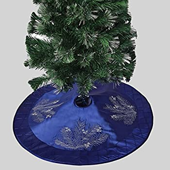 Gireshome 42 Blue Faux Silk Deluxe Berry Embroidered With Handcraft Pintuck Border Christmas Tree Skirt