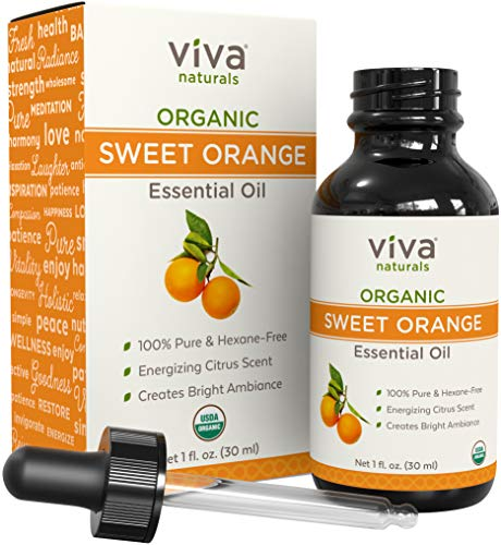 Viva Naturals Organic Orange Essential Oil, Great for DIYs, Soap Scents, Body Oils, Diffusers, etc (1 ()