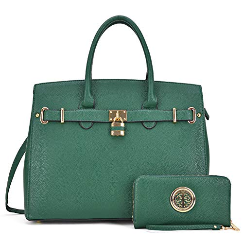 Women Fashion Purses and Handbags Large Tote Bag Shoulder Bag Top Handle Satchel Purse Hobos for Ladies (02 With Wallet- Dark Green) ()